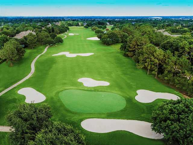 Aerial view of the 6th green at Golf Club at Cinco Ranch.