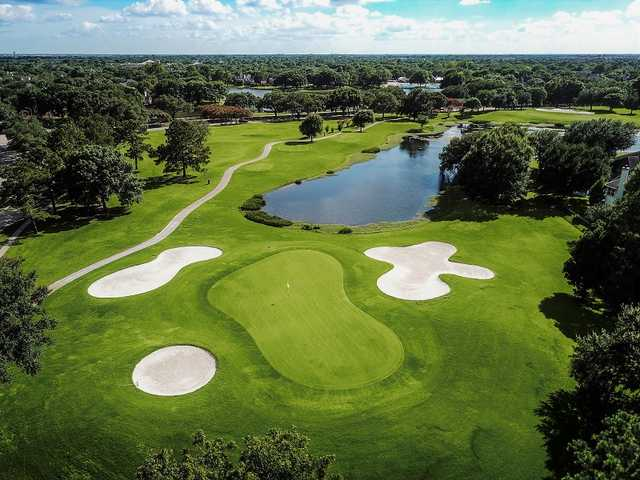 Aerial view of the 12th green at Golf Club at Cinco Ranch.