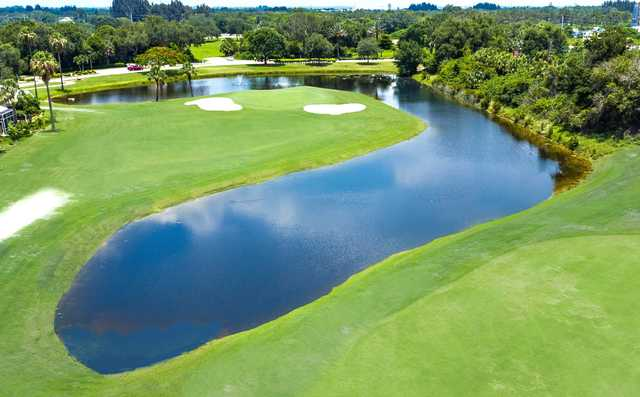 Aerial view of the 11th green at Seminole Lakes Country Club.