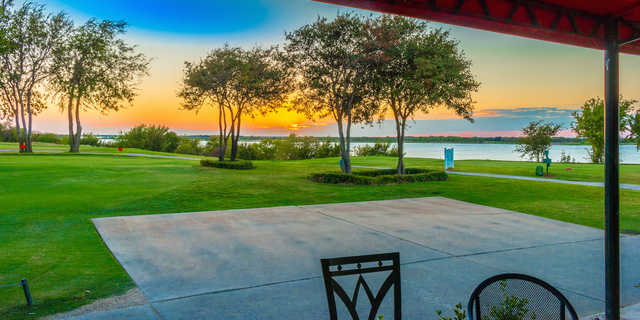 A sunset view from Stewart Peninsula Golf Course.