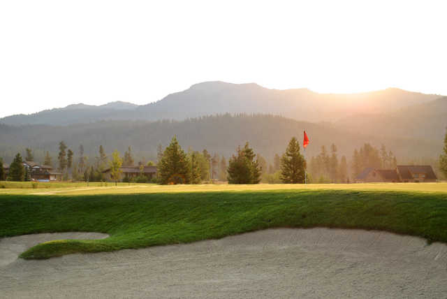 A view of the 8th green at Jug Mountain Ranch Golf Course.