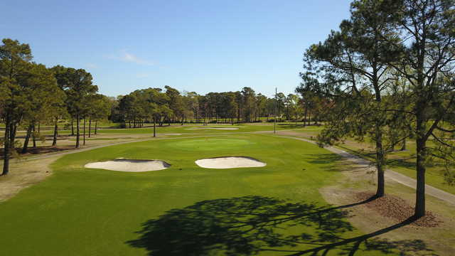 Aerial view of a green at Azalea Sands Golf Course.