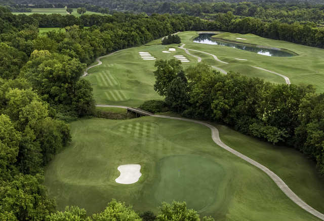 Aerial view of the 17th hole at Gaylord Springs Golf Links.