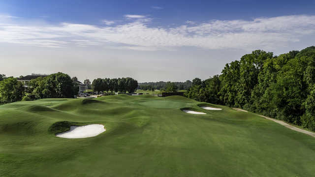 Aerial view of the 14th hole at Gaylord Springs Golf Links.