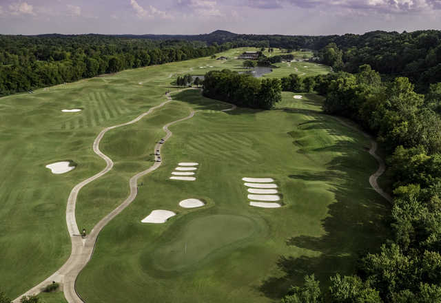 Aerial view of the 16th hole at Gaylord Springs Golf Links.
