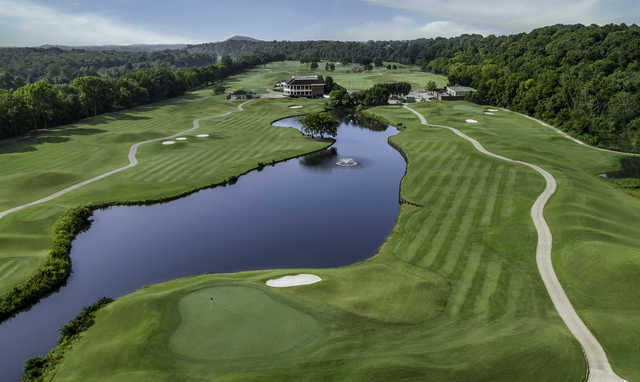Aerial view of the 15th hole at Gaylord Springs Golf Links.