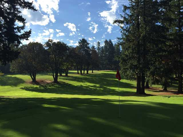A view of a hole at Glendoveer Golf Course.