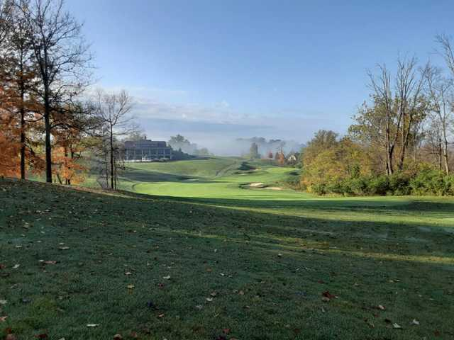A fall day view of a fairway at Aston Oaks Golf Club.