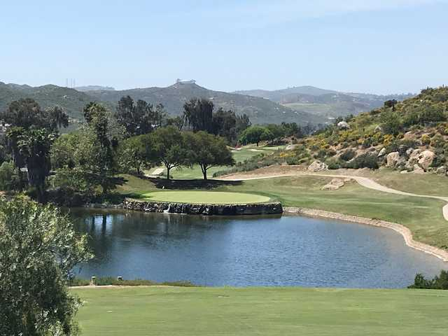 View of the 8th green from the Canyon course at Steele Canyon Golf Club.
