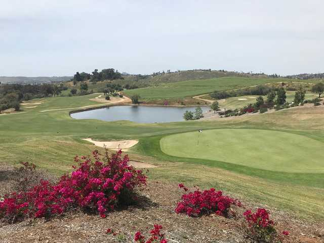 View of the 9th green from the Ranch course at Steele Canyon Golf Club.