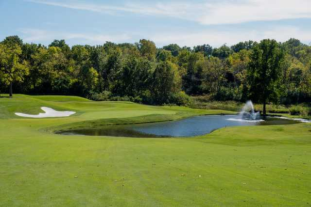 A view of a hole with water coming into play at Oakwood Country Club.