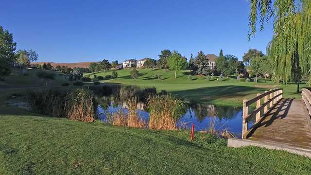 A view of a green with water coming into play at Canyon Lakes Golf Course.