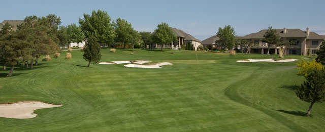 A view of a well protected green at Canyon Lakes Golf Course.