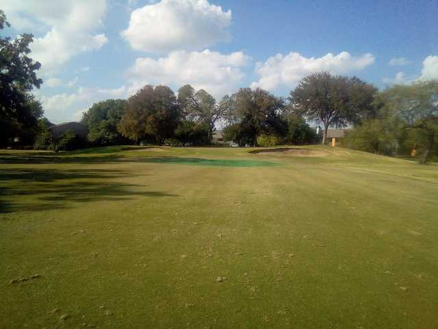 Fairway view of a temporary green at Woodhaven Country Club.