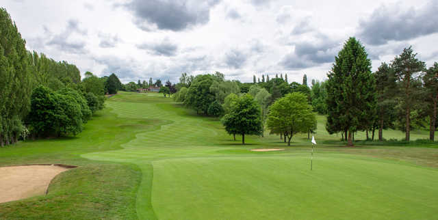 A view of a well protected green at Knebworth Golf Club.