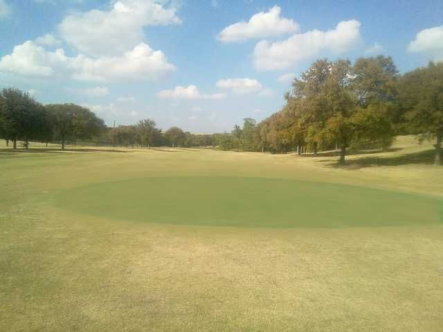 View of a temporary green at Woodhaven Country Club.