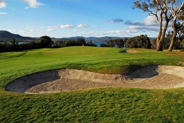 A view of the 3rd green at Tasmania Golf Club.