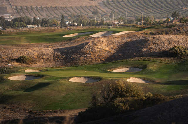 A view of a well protected green at Poppy Ridge Golf Course.