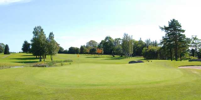 A sunny day view of a green at Roscommon Golf Club.