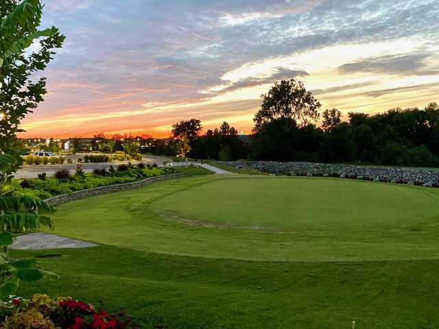 Sunset view of the practice green at St. Peters Golf Club.