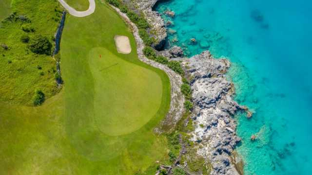 Aerial view of the 10th hole at Five Forts Golf Club.