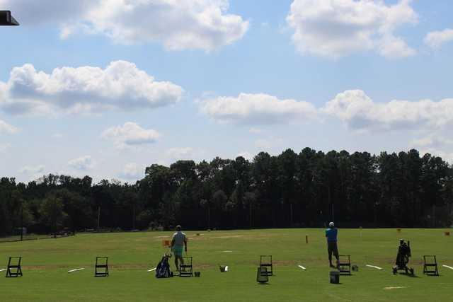 A view from the driving range tees at Sugar Creek Golf & Tennis Club.