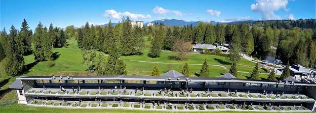Aerial view of the driving range at Burnaby Mountain Golf Course