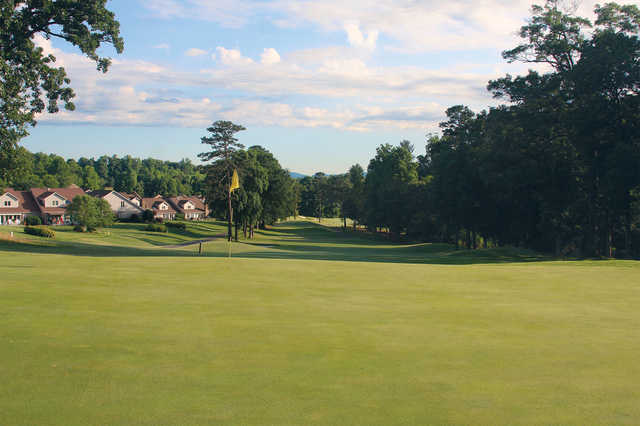A sunny day view of hole #12 at Jackson Course from Rock Barn Golf and Spa.