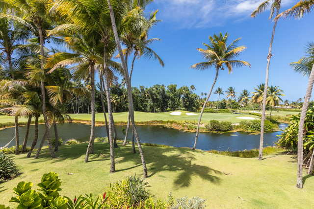 A view of a green with bunkers and water coming into play at Bahia Beach Resort & Golf Club.