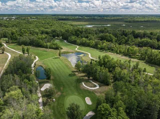 Aerial view of the 10th hole at Perth Golf Course.