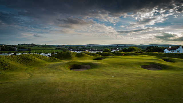 A view of hole #2 at Mussenden from Castlerock Golf Club.