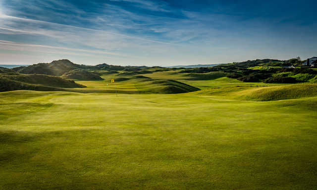 A view of green #18 at Mussenden from Castlerock Golf Club.