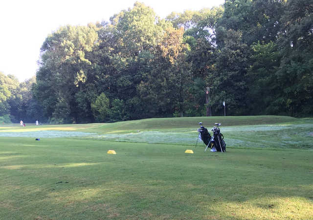 A view of a tee at The Links at Overton Park.