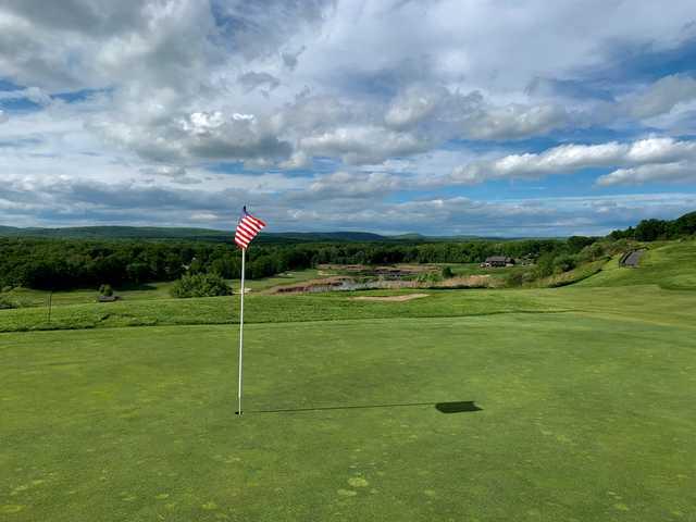 A sunny day view of a hole at Berkshire Valley Golf Course.