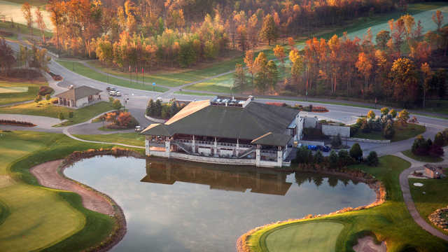 Aerial view of the clubhouse at Legends on the Niagara Golf Course.