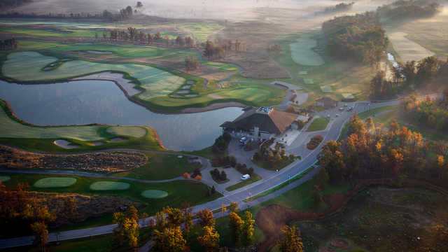 Aerial view of the 9th and 18th hole from the Battlefield at Legends on the Niagara Golf Course