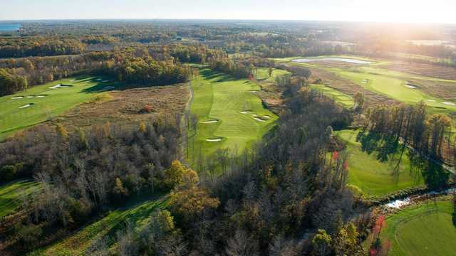 Aerial view from the Ussher's Creek at Legends on the Niagara Golf Course