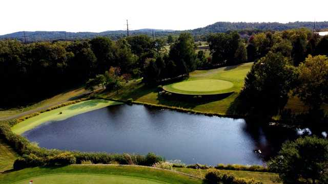 Aerial view of the 11th green from Liberty Forge Golf Course.