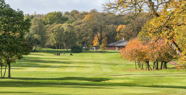 A view of a hole at Ashton-in-Makerfield Golf Club.