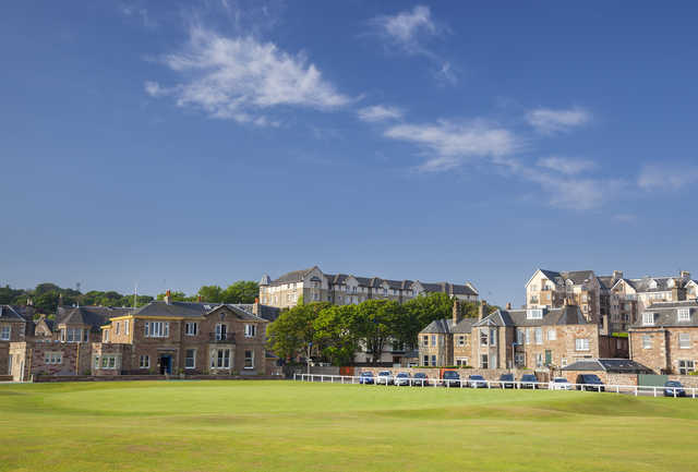 View of the 1st green with the clubhouse in the back at The North Berwick Golf Club.