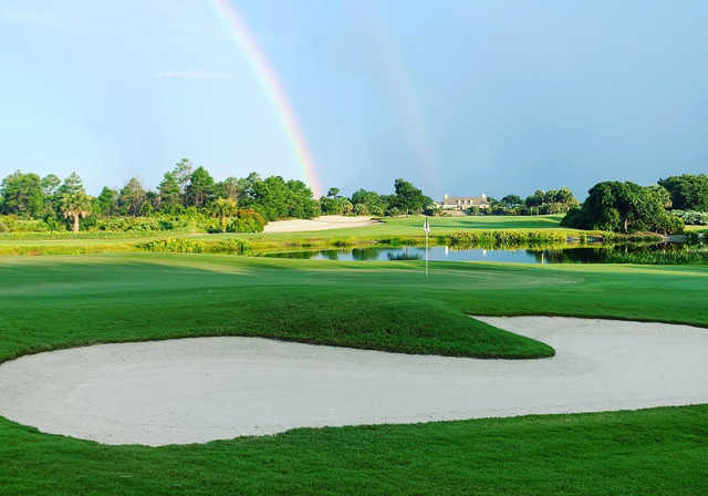A view of a green protected by the rainbow at Hawk's Nest from The Moorings Yacht & Country Club.