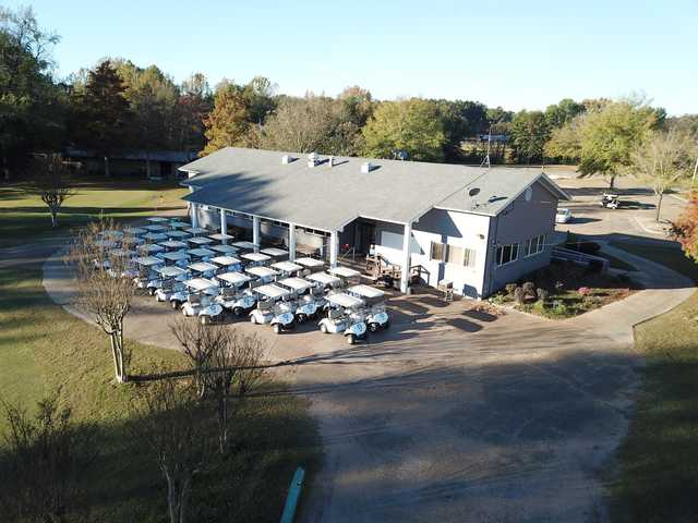 Aerial view of the clubhouse at Pete Brown Golf Facility.