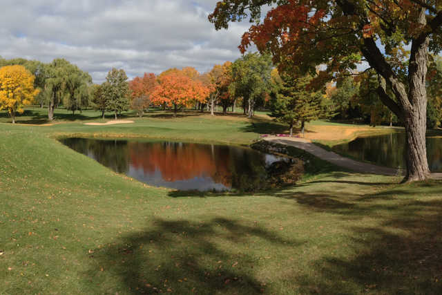 A fall day view of a hole at Meadowbrook Country Club.