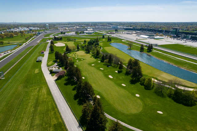 Aerial view of the 9th hole at Brickyard Crossing.