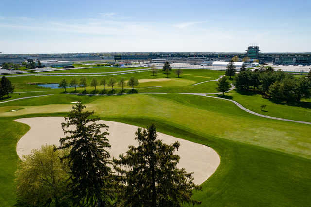 Aerial view of the 10th green at Brickyard Crossing.