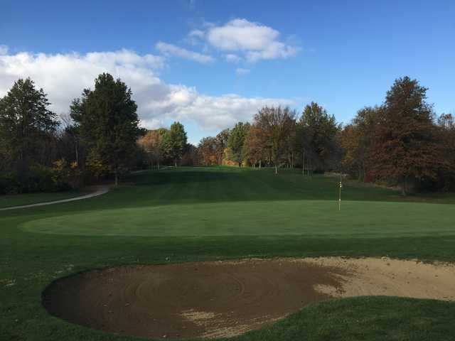 View of a green at Rolling Meadows Golf Course.