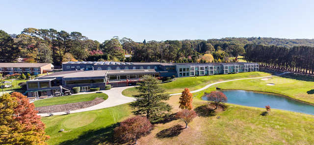 Aerial view of the clubhouse at Gibraltar Country Club.