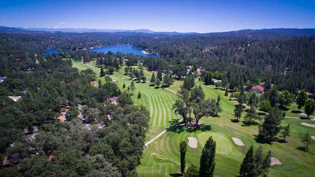 Aerial view of the 10th green and 11th fairway and green at Pine Mountain Lake Golf Course.