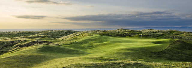 A view of hole #17 at Machrihanish Dunes Golf Club.