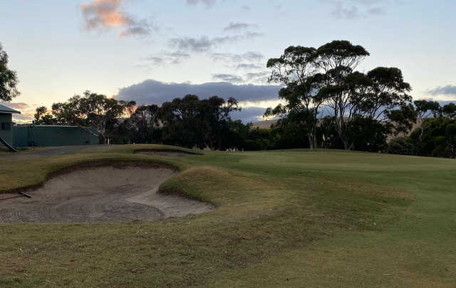A sunset view of a hole at Wirrina Cove Golf & Country Club.
